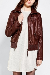 Silence and Noise Vegan Leather Hooded Bomber Jacket at Urban Outfitters