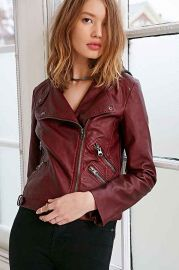 Silence and Noise Vegan Leather and Fleece Moto Jacket at Urban Outfitters