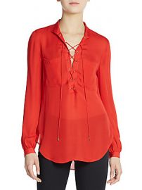 Silk  lace up top by Haute Hippie at Saks Off 5th