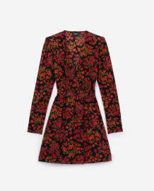Silk Dress with Camellia Rose Print by The Kooples at The Kooples