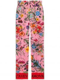 Silk Flora Snake Print Pants by Gucci at Farfetch