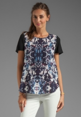Silk Floral Plum Combo Blouse by Rebecca Taylor at Revolve