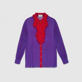 Silk Ruffle Front Shirt at Gucci