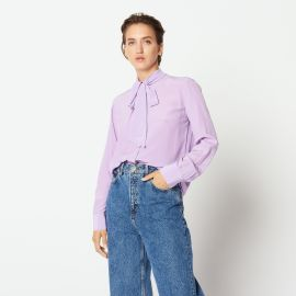 Silk Shirt with Bow Collar in Lilac at Sandro