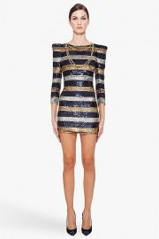 Silk Stripe Sequin Dress by Balmain at Ssense