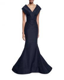 Silk V-Neck Mermaid Gown at Neiman Marcus