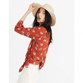 Silk Wrap Top in Fresh Daisies at Madewell
