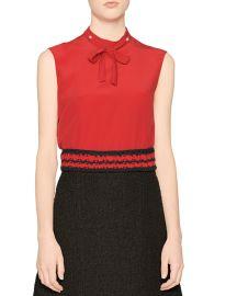Silk bow neck blouse at Bergdorf Goodman