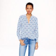 Silk cat print blouse at J. Crew