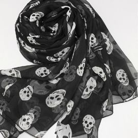 Silk chiffon scarf with skulls at Open Sky