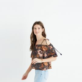 Silk cold shoulder top at Madewell