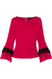 Silsden Fringed Wool-Crepe Top by Roland Mouret at Net A Porter