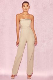 Silver Mink Strapless Panel Front Jumpsuit by House of CB at House of CB