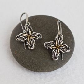 Silver Star Flower Earrings at Etsy