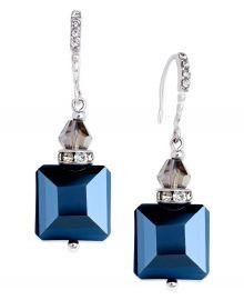 Silver-Tone Jet Square Bead Drop Earrings at Macys