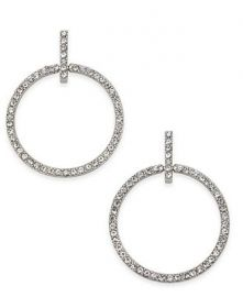 Silver-Tone Pave Circle Drop Earrings at Macys