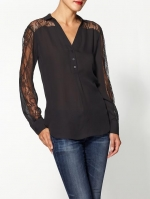 Similar black lace shirt at Piperlime