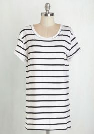 Simplicity on a Saturday Tunic in White Stripes at ModCloth