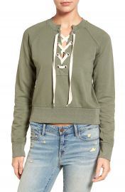 Sincerely Jules Lace-Up Crop Sweatshirt at Nordstrom