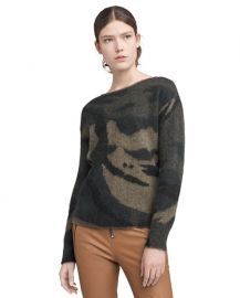 Sinclair Fuzzy Crew Camo Sweater at Ron Herman