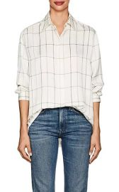 Sisea Windowpane-Checked Silk Satin Blouse by The Row at Barneys