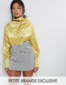 Sister Jane Petite Drapey Blouse In Satin by ASOS at ASOS