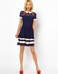Skater dress with contrast collar at Asos