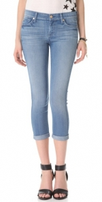 Skinny crop and roll jeans by 7 for all mankind at Shopbop