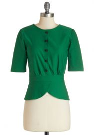 Slate In the Day Top in Emerald at ModCloth