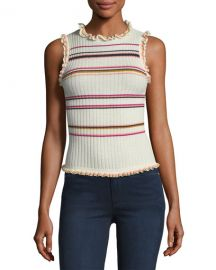 Sleeveless Ruffled Striped Rib-Knit Tank at Neiman Marcus