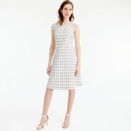 Sleeveless A-line dress in windowpane tweed at J. Crew