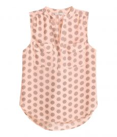 Sleeveless Blouse in Powder Pink Patterned at H&M