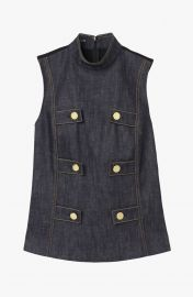 Sleeveless Denim Military Top at Derek Lam