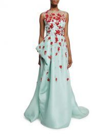 Sleeveless Draped Illusion Gown w Contrast Floral Appliques at Neiman Marcus