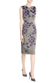 Sleeveless Dress with Floral Applique at Stylebop