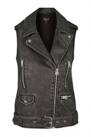 Sleeveless Faux Leather Biker Jacket at Topshop