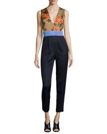 Sleeveless Floral-Combo Colorblock Jumpsuit at Neiman Marcus