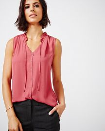 Sleeveless Frill Collar Crepe Blouse at RW&CO.