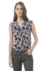 Sleeveless Geo Print Henley at Rebecca Taylor