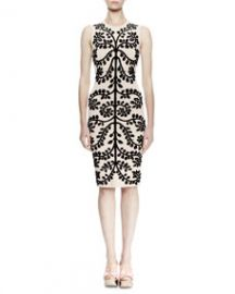 Sleeveless Leaf-Print Pencil Dress  Cameo Black at Neiman Marcus