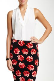 Sleeveless Pleated V-Neck Blouse at Nordstrom Rack