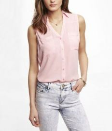 Sleeveless Portofino Shirt at Express