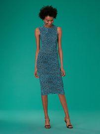 Sleeveless Ruched Mesh Dress at DvF