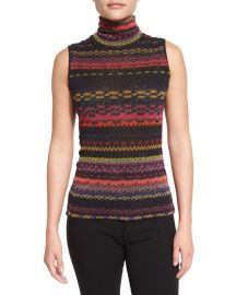 Sleeveless Striped Turtleneck Sweater by Fuzzi at Neiman Marcus