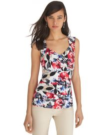 Sleeveless floral tiered shell at White House Black Market