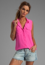 Sleeveless signature blouse in pink by Equipment at Revolve