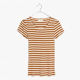 Slim Ribbed Tee in Sandoval Stripe in Golden Pecan at Madewell