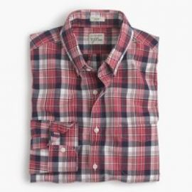 Slim Secret Wash shirt in classic red plaid at J. Crew