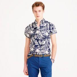 Slim Secret Wash short-sleeve shirt in fern print at J. Crew
