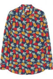 Slim Signature pineapple-print silk-crepe shirt at The Outnet